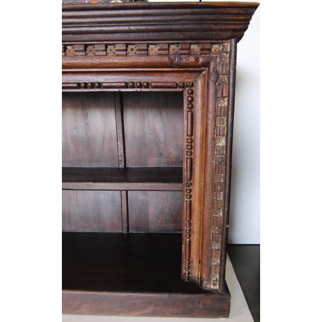 Anglo Indian Wide Carved Teak Bookshelf For Sale