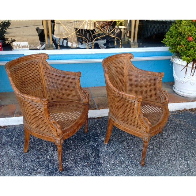 Wood Pair of Louis XVI Style Armchairs For Sale - Image 7 of 13