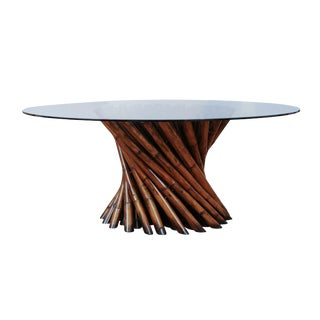 Mid-Century Modern Pedestal Bamboo Cluster Center or Dining Table by Budji Layug For Sale