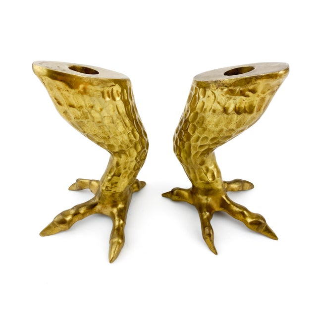 Pair of brass eagle talon / claw candle holders. Solid brass and truly stunning.