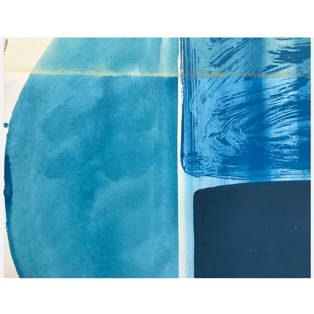 """Abstract Ky Anderson """"Blue Shield 18.7"""" Painting, 2018 For Sale - Image 3 of 5"""