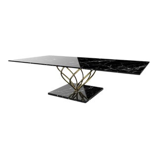 Daniele Toesca Contemporary Table in Stainless Steel and Marquina Marble For Sale