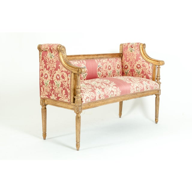 French Louis XVI Style Giltwood Frame Settee For Sale - Image 9 of 13