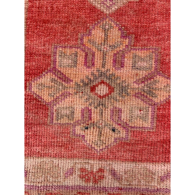 Islamic Vintage Turkish Oushak Red Runner- 2′10″ × 12′10″ For Sale - Image 3 of 9