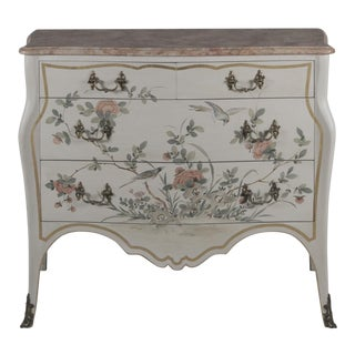 Vintage Rococo Style Faux Marble Top Commode For Sale