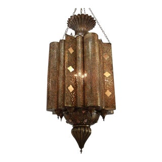 Large Moroccan Moorish Brass Chandelier For Sale