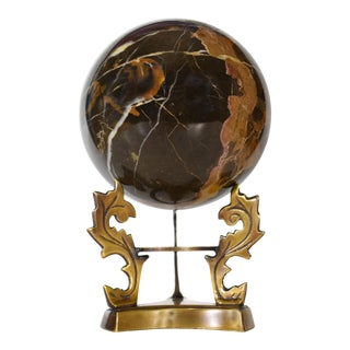 Late 20th Century Black Gold Onyx Orb Sphere Ball Figurine For Sale