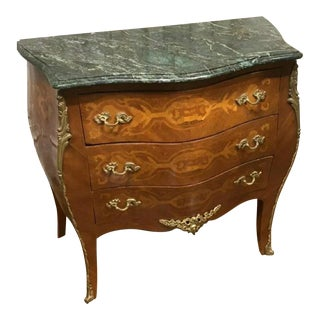Vintage Louis XV Style Gilt-Bronze Mounted Marquetry Bombe Commode For Sale