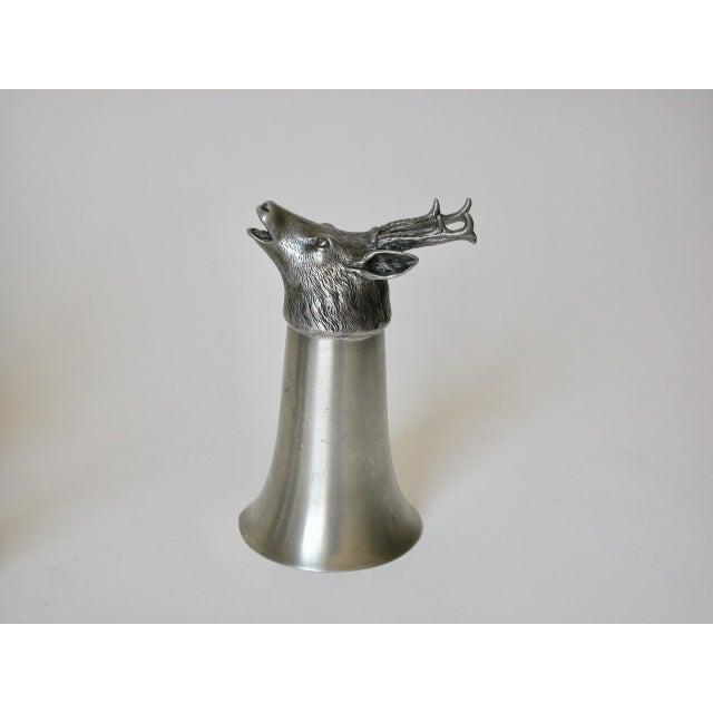 Late 20th Century Stag Pewter Stirrup Cups - Set of 7 For Sale - Image 5 of 11