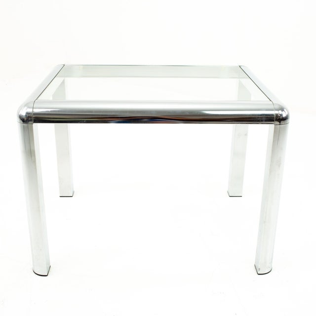 Milo Baughman Milo Baughman Style Mid Century Chrome and Glass Side End Table For Sale - Image 4 of 10