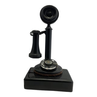 1940s Antique Black Candlestick Telephone For Sale