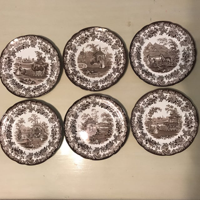 """""""The Spode Archive Collection"""" Set of 6 plates. it is produced from a hand engraved copper plate. Made in England. The Set..."""