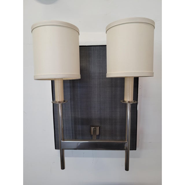 Pair of Paul Marra Design Double Arm Horsehair Scones. Showroom Samples. Polished Nickel, no lacquer. Backplate is...