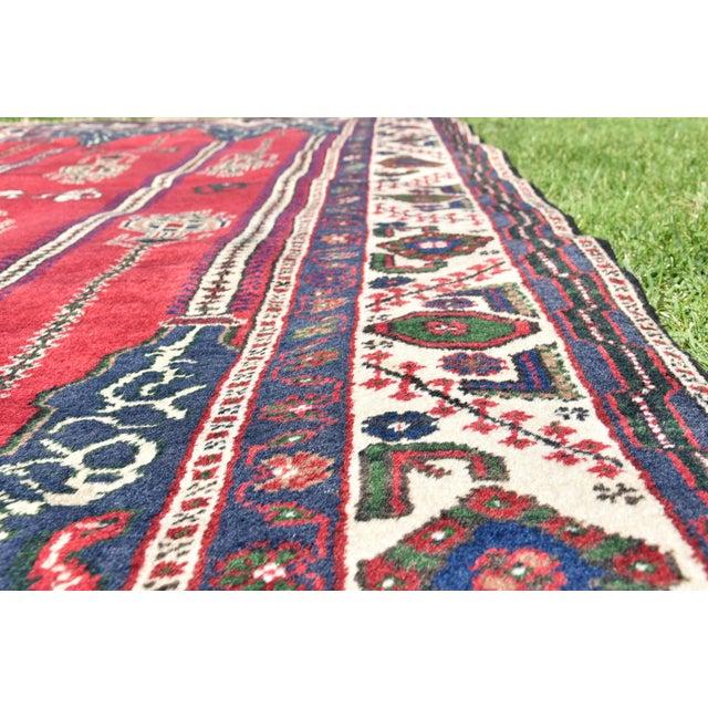 Turkish Vintage Oriental Design Red-Blue Color Carpet - 4x8.5 For Sale - Image 10 of 12
