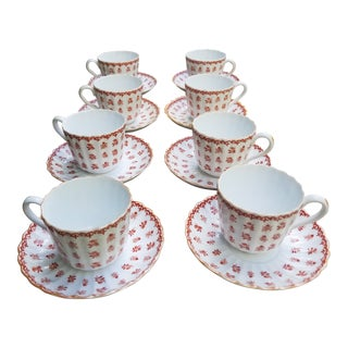 1910s Vintage Spode Scrolls and Flowers Ribbed China Demitasse Set - Set of 8 For Sale