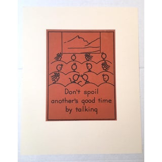 """Vintage 1940's Double-Sided """"Good Manners"""" Stick Figure Poster - Don't Spoil/Always Be Quiet"""
