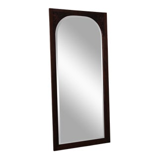 French Art Deco Carved Mahogany Bevelled Mirror For Sale