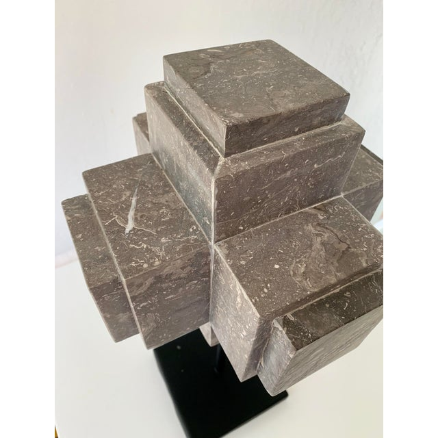 Modern Sculpture Gray Marble Cube on Stand For Sale In San Francisco - Image 6 of 10