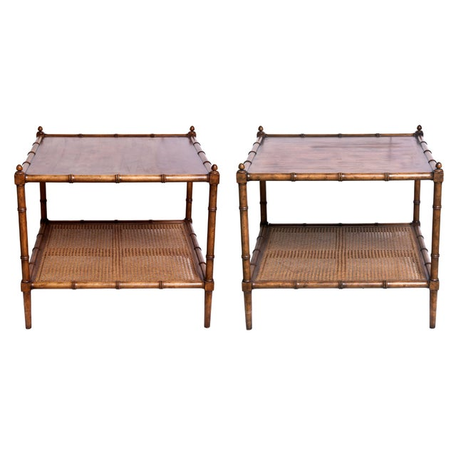 Mid Century Asian Inspired Baker Side Tables - a Pair For Sale - Image 9 of 9