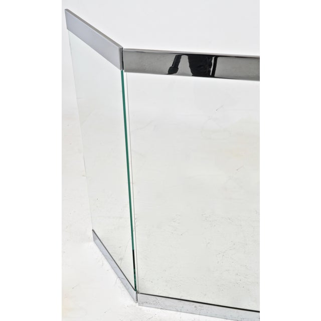 1970s Chrome and Glass Three-Panel Fire Screen 1970s For Sale - Image 5 of 7