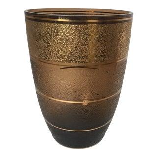 1930s Art Deco Gold Vase in Cognac Coloration
