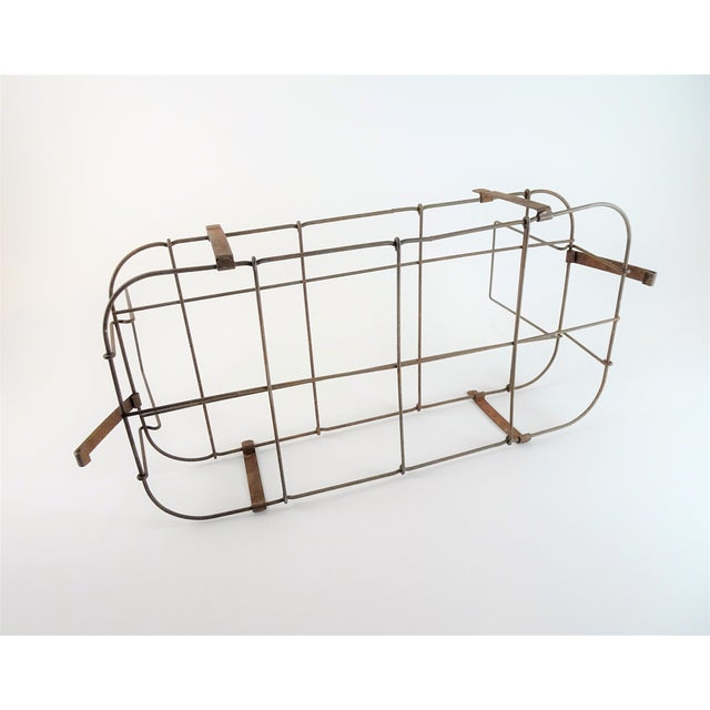 Metal 1930s Rustic Wire Basket With Handle For Sale - Image 7 of 11