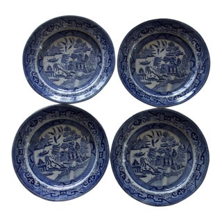 Vintage English Elkin & Samuel Staffordshire Blue and White Willow Wear Warranted Stoneware - Set of 4