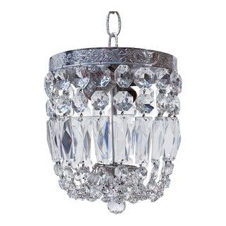 Silver Crystal Basket Pendant Light For Sale