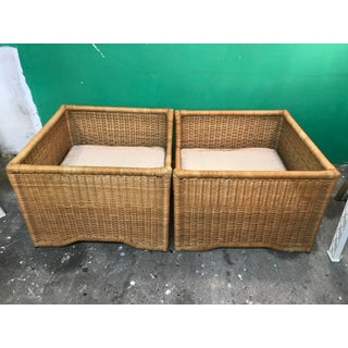 Vintage Boho Chic Mid-Century Modern Large Wicker Chairs-Pair Preview