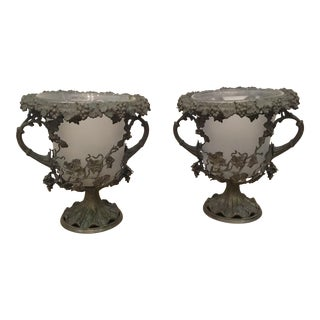 19th Century Antique Glass and Metal Urns - a Pair For Sale
