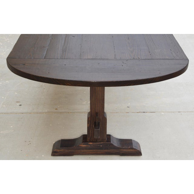 Brown Country Racetrack Trestle Table Made From Reclaimed Pine For Sale - Image 8 of 11
