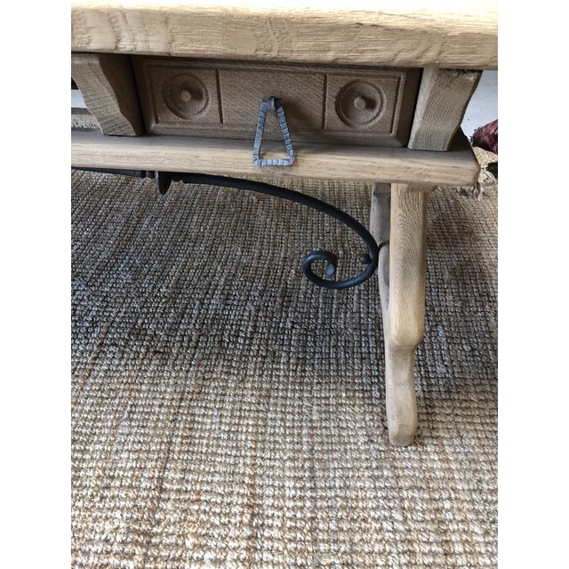 Antique English Oak Farm Table with Iron Stretcher and Drawers For Sale - Image 4 of 10