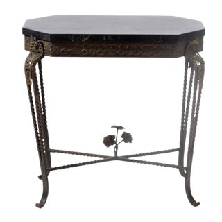 Antique Art Deco Oscar Bach Bronze and Iron Table For Sale