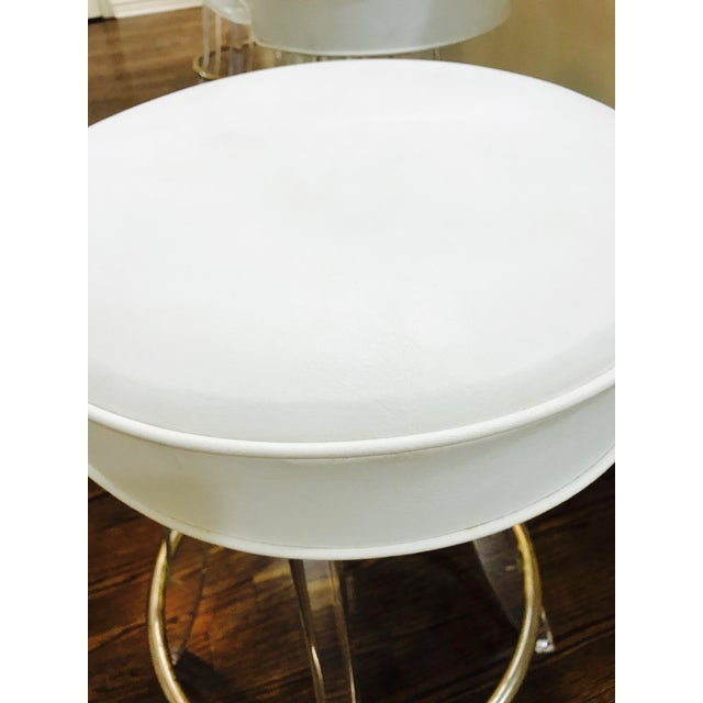 White Vintage Lucite Acrylic Fan Back Bar Stools - Set of 4 For Sale - Image 8 of 9