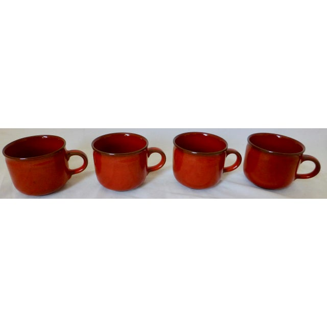 West German Ceramano Coffee Cup and Saucers in Sunset Orange - Set of 4 For Sale In Boston - Image 6 of 13