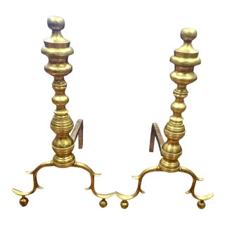 Late 19th Century Brass Beehive Andirons - a Pair For Sale