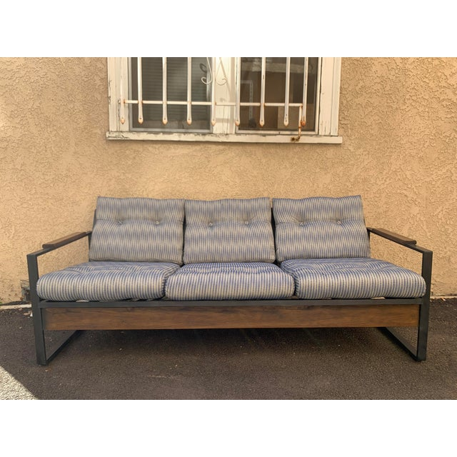 Vintage Metal and Wood Framed Day Bed Sofa For Sale - Image 9 of 9