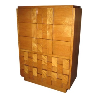 Lane Mid Century Brutalist Highboy Dresser For Sale