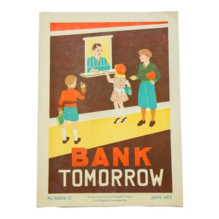 Vintage 1930s Bank Tomorrow School Poster For Sale