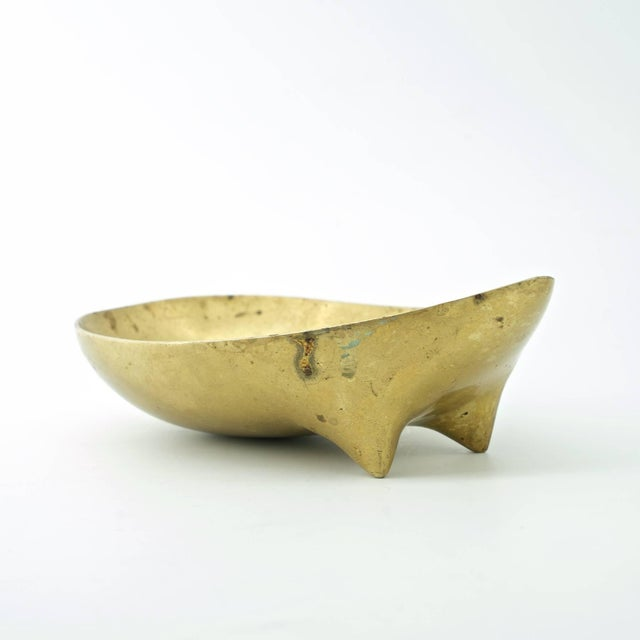 1950s Vintage Illums Bolighus Danish Brass Metalworks Footed Bowl Attrd. Carl Aubock For Sale - Image 5 of 10