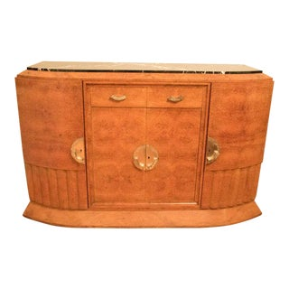 1920's Art Deco French Buffet Exotic Burl Amboyna Wood with Marble Top