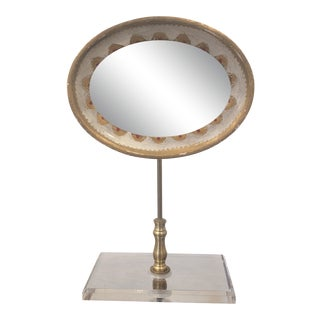 Vintage Large Oval Mirror on Lucite