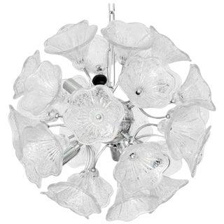 Murano Clear Flowers Sputnik Chandelier by Venini