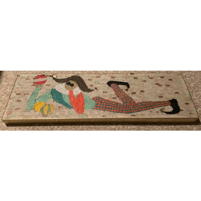 Item: For your consideration we are presenting for sale a quintessential harlequin / jester tile mosaic wall hanging....