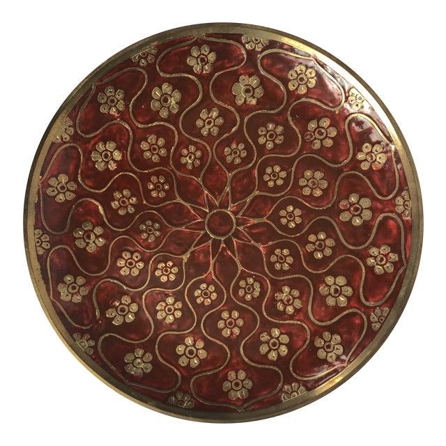 Late 20th Century Vintage Brass Enamel Decorative Plate For Sale
