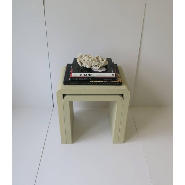 Shagreen-Esque Nesting Tables With Waterfall Edge For Sale In New York - Image 6 of 12