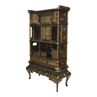 Asian Japanese Meiji Period Black Lacquered Etagere Cabinet For Sale