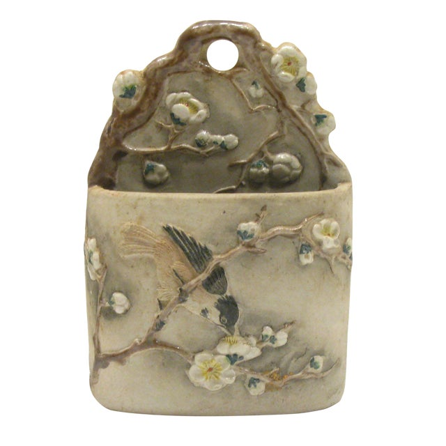 Vintage Matte Gray Majolica Match Holder For Sale