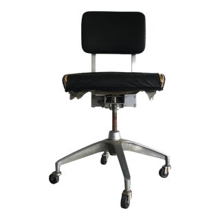 1960's Industrial Black Leather Office Chair For Sale
