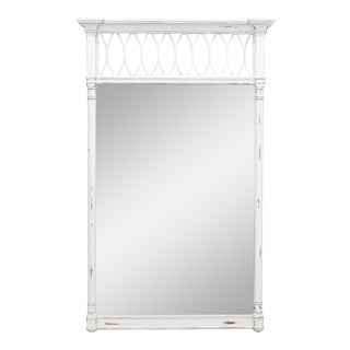 Mid-Century Modern Mirror, White Distressed Mirror, Regency Style Mirror For Sale